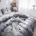 ผ้าปูที่นอนลายจุด สีเทา-ดำ ปลอกหมอนมีหู