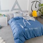 ผ้าปูที่นอน พิมพ์ตัวอักษร A ตาราง น้ำเงิน-เทา สีพาสเทล