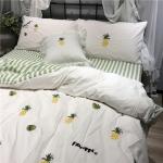 ผ้าปูที่นอน งานปักลายสัปปะรด ลายทางเขียว