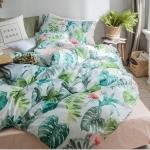 ผ้าปูที่นอน ลายต้นไม้ ใบไม้ Forrest สีเขียว-โอรส