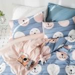 ผ้าปูที่นอนลายหน้าหมี สีฟ้า-ชมพู Bedding