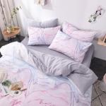 ผ้าปูที่นอน ลายหินอ่อน สีขาว-เทา
