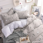 ผ้าปูที่นอนลายหมี เส้นสีขาว-เทา พิมพ์ลาย