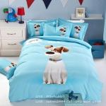 ผ้าปูที่นอนลายหมา 3D สีฟ้า