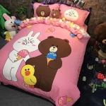 ผ้าปูที่นอน ลายการ์ตูนหมีบราวน์ โคนี่ Appline Brown Cony