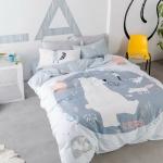 ผ้าปูที่นอนลายหมี สีขาว-ฟ้า พาสเทล