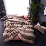 ผ้าปูที่นอน ลายเส้นลายตาราง สีชมพู-น้ำตาล