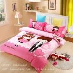 ผ้าปูที่นอน ลายการ์ตูนคู่รักแต่งงาน สีชมพู Wedding Bedding Set
