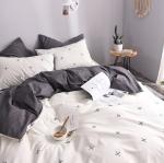 ผ้าปูที่นอนลายจุด โทนสีเทา-ขาว