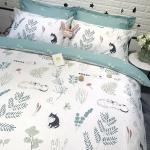 ผ้าปูที่นอนลายต้นไม้ ใบไม้ สีขาว-เขียว