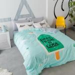 ผ้าปูที่นอน ลายไอติม สีเขียว-เทา
