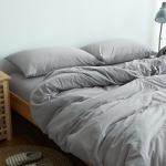 ผ้าปูที่นอน สีพื้น สีเทา เนื้อผ้าถักนิตติ้ง KnittedCotton