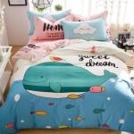 ผ้าปูที่นอน ลายปลาวาฬ สีฟ้า-ชมพู