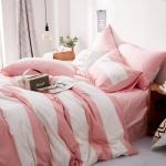 ผ้าปูที่นอน ลายทางสีชมพู-ขาว