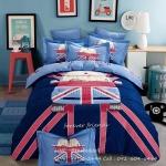ผ้าปูที่นอนลายการ์ตูนหมีขับรถ ธงชาติอังกฤษ สีน้ำเงิน