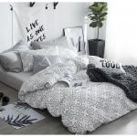 ผ้าปูที่นอน ลายสวยสีขาว-ดำ-เทา ลายกราฟฟิก