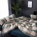 ผ้าปูที่นอน ลายเส้นลายตาราง สีเขียว
