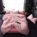ผ้าปูที่นอน ลายทางเส้นสีขาว สีชมพูอมส้ม