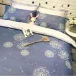 ผ้าปูที่นอนลายดอกไม้ สีน้ำเงิน-เทา