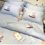 ผ้าปูที่นอน ลายการ์ตูนแมว สีฟ้า