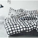 ผ้าปูที่นอน ลายทาง ลายตาราง สีดำ-เทา