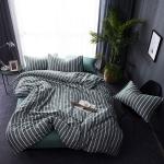 ผ้าปูที่นอน ลายทางเส้นสีขาว พื้นเขียว
