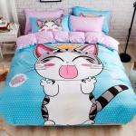 ผ้าปูที่นอน ลายแมวจี้ สีฟ้า-ชมพู
