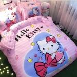 """""""6ฟุต พร้อมส่ง"""" ผ้าปูที่นอน ลายคิตตี้ สีชมพู Kitty Bedding Set"""