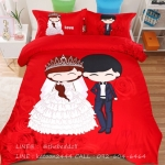 ผ้าปูที่นอน ลายการ์ตูนคู่รักแต่งงาน สีแดง Wedding Bedding Set