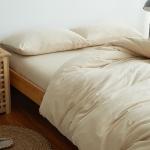 ผ้าปูที่นอน สีพื้น สีครีม เนื้อผ้าถักนิตติ้ง KnittedCotton