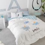 ผ้าปูที่นอน ลายดอกไม้ ฟ้า-เทา สีพาสเทล