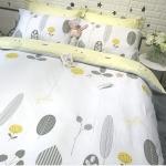 ผ้าปูที่นอนลายต้นไม้ ใบไม้ สีขาว-เหลือง