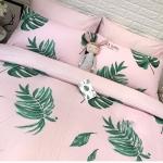 ผ้าปูที่นอนลายใบไม้ สีชมพู-เขียว พิมพ์ลาย