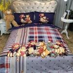 ผ้าปูที่นอนลายครอบครัวหมี ลายสก๊อต สีน้ำเงิน