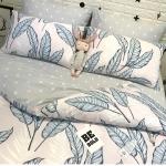 ผ้าปูที่นอน ลายใบไม้ สีฟ้า-เทา