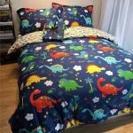 ผ้าปูที่นอน ลายการ์ตูนไดโนเสาร์ สีน้ำเงิน