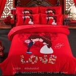 ผ้าปูที่นอน ลายการ์ตูนคู่รัก สีแดง Wedding Bedding Set