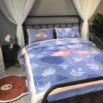 ผ้าปูที่นอน ลายนก ฟลามิงโก้ Flamingo