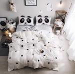 ผ้าปูที่นอนลายจุด สีขาว-ดำ ปลอกหมอนมีหูหน้าแพนด้า