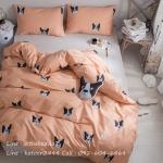 ผ้าปูที่นอนลายหมา เฟรนช์บูลด็อก (French Bulldog) หน้าหมา สีโอรส-เทา