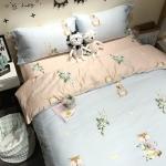 ผ้าปูที่นอน ลายการ์ตูนสัตว์ สีฟ้า-ชมพู