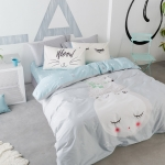 ผ้าปูที่นอน ลายสวยสวย ฟ้า-เทา สีพาสเทล
