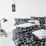 ผ้าปูที่นอน ลายเส้น ลายม้า สีดำ-ขาว multivariate