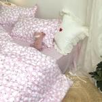 ผ้าปูที่นอน ลายจุดดอกไม้ สีชมพู