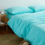 ผ้าปูที่นอน สีพื้น สีฟ้า เนื้อผ้าถักนิตติ้ง KnittedCotton