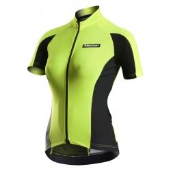 เสื้อปั่นจักรยานผู้หญิงแขนสั้น Monton เหลืองเขียว 2015 EVO Plus Annie Fluorescent  Yellow Cycling 8bd503e55