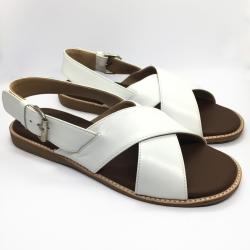 Arya Leather Sandal (White) รองเท้าแตะ แบบสวมไขว้ สีสายรัดส้น สีขาว