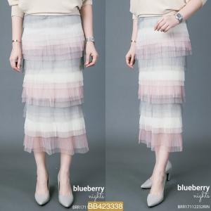 BB3338*สีชมพูเทา*เอว 28-32'' กระโปรงฟูฟูซีทรูสลับสีสดใส