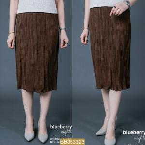 BB3323*สีน้ำตาล*เอว 28-36'' กระโปรงอัดพลีทส์ผ้าสักหลาดขนสั้น