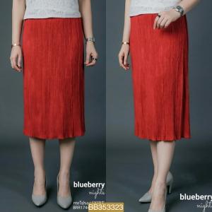 BB323*สีแดง*เอว 28-36'' กระโปรงอัดพลีทส์ผ้าสักหลาดขนสั้น